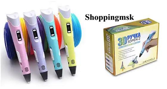 3D-ручка с тестовым набором ABS-пластика, а также набор для творчества «Рисуем цветом» от интернет-магазина Shoppingmsk. Скидка до 82%